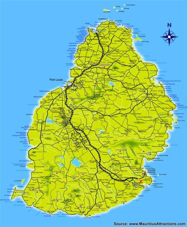 Mauritius Roads Map Map to Mauritius Roads Mauritius