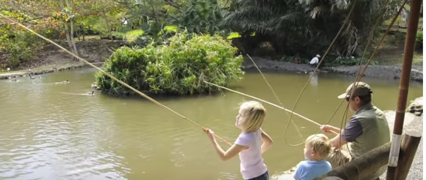 Fishing in pond at Casela