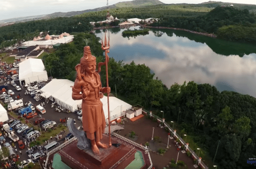 Aerial View of Grand Bassin with Mangal Mahadev statue