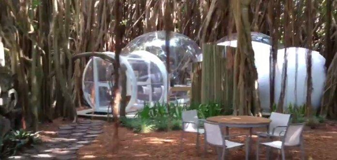 Outside view of Bubble Lodge at Ile aux Cerfs Mauritius