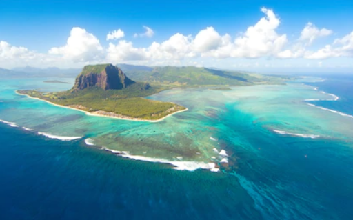 Aerial_View_of_Le_Morne_Brabant_&_Under_Water_Waterfall in Mauritius