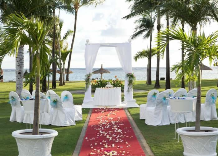 Wedding setup at Sugar Beach Hotel in Mauritius