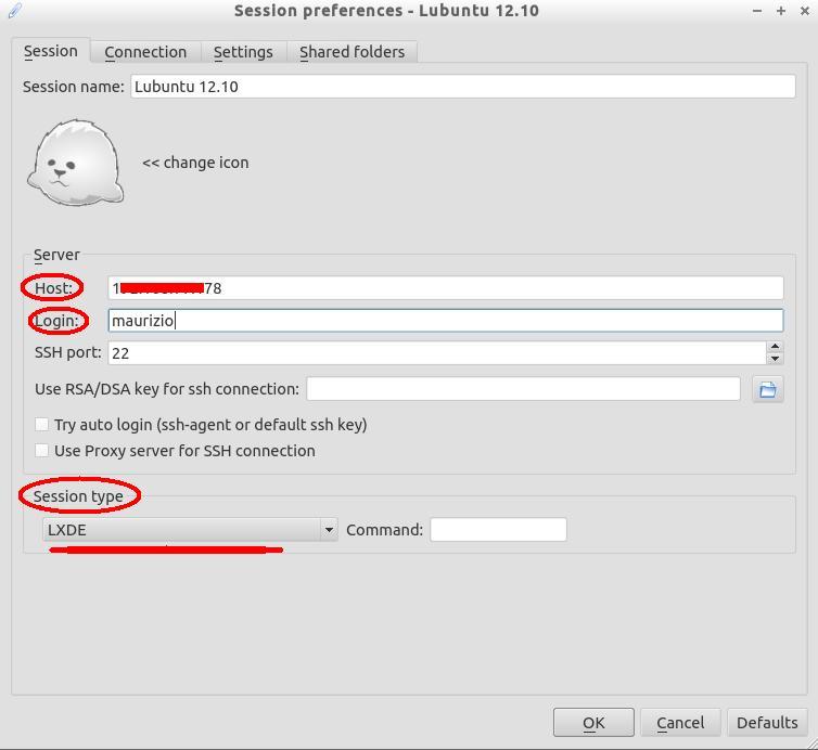 x2go client tab session dati di connessione