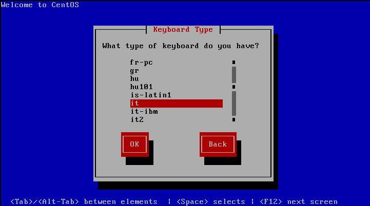 Centos 5 - Choose Keyboard type
