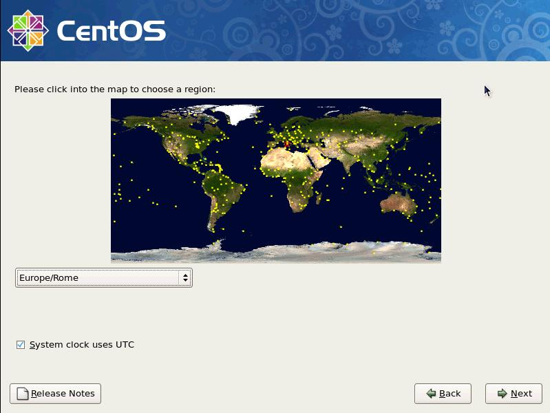 Centos 5 choose region