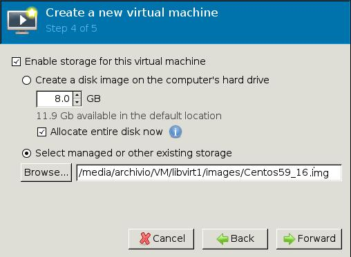 Step 4/5 Virt-manager select disk image