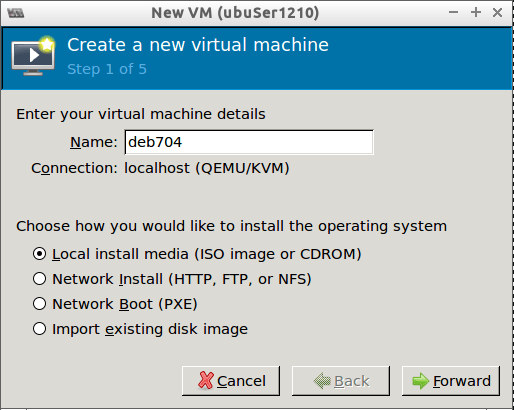 Create New VM using virt-manager
