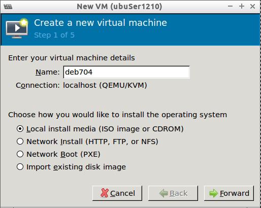 Create New VM using virt-manager