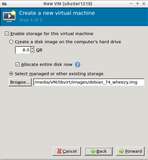 Step 4/5 Virt-manager select disk image
