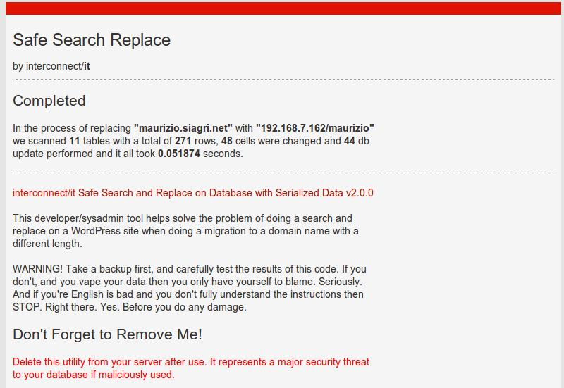 wordpress db search and replace results