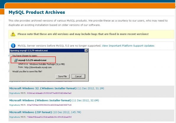 mysql 5.5 Windows 2008