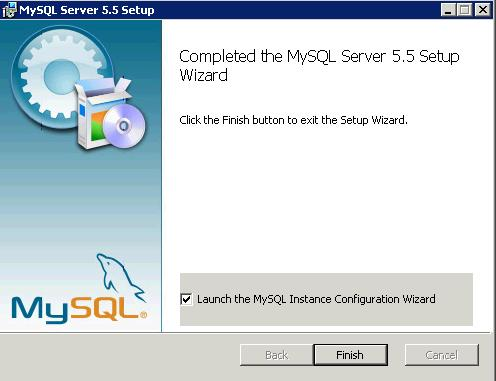 mysql 5.5 finish setup e start Configuration Windows2008