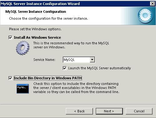 mysql 5.5 Windows options