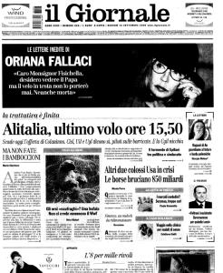 Il Giornale - Prima Pagina 18 Settembre 2008