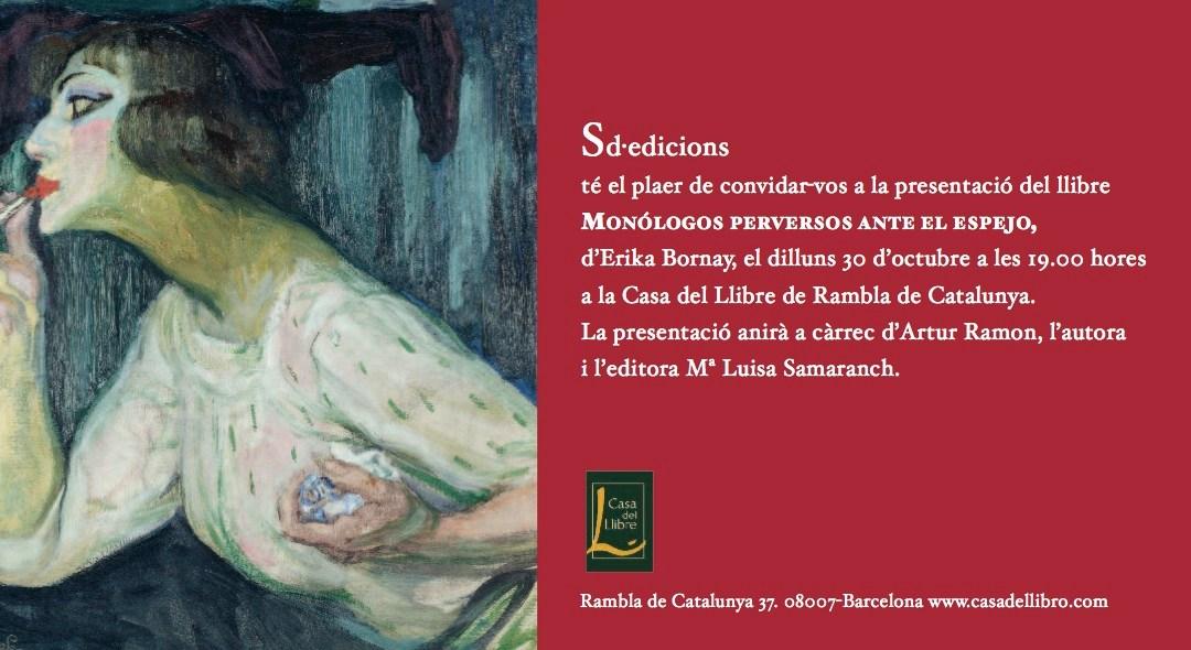 """Presentación de """"Monólogos perversos ante el espejo"""" de Erika Bornay, en Casa del Libro"""