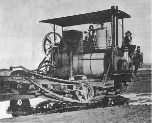 Holt prototype tractor on Roberts Island, 1905, from WikiMedia