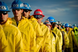 Members of the California Conservation Corps prepare and perform a flood fight simulation. 12/2012