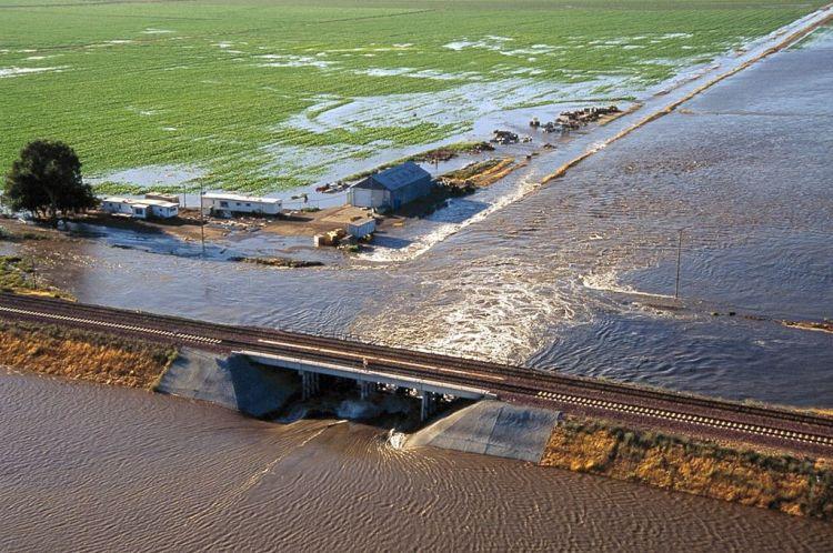 Aerial view showing the Jones Tract levee break, June 3, 2004.