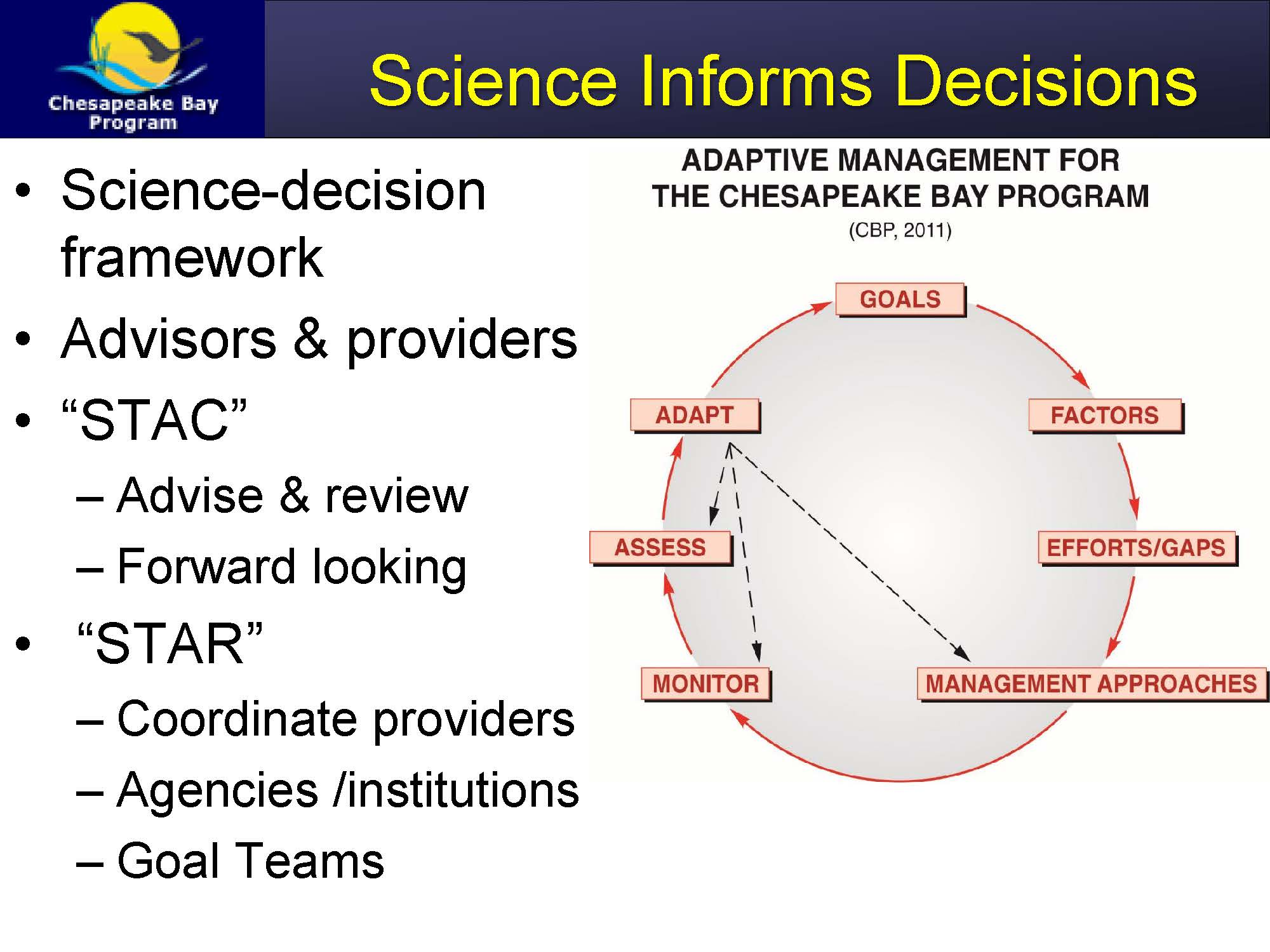 hight resolution of mr phillips then turned to how science is organized in the program we have a very closely linked science decision framework where we work with the