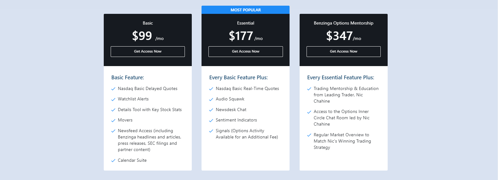 Benzinga Pricing
