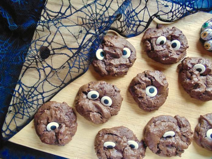 triple chocolate spooky cookies