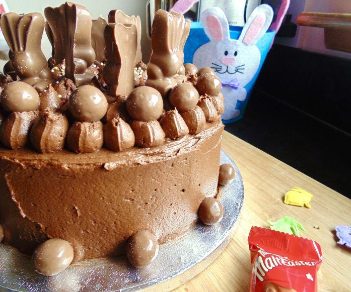 easter chocolate malteser bunny cake