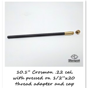 .22 caliber Crosman 10.1″ barrel with Brass 1/2″ x 20 threads and screw on protector cap