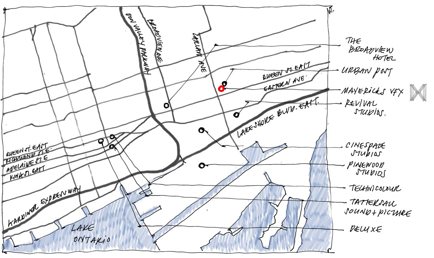 drawing of Mavericks's location