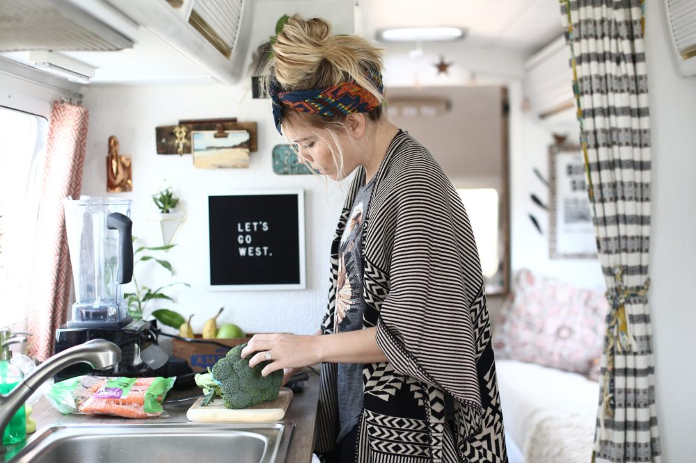 medium resolution of tiny house cooking preparing food in an airstream kitchen