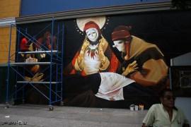Inti (Chile) pintando en Jr. Cuzco, Lima.