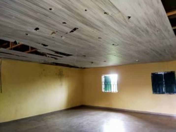 New classroom with leaking roof