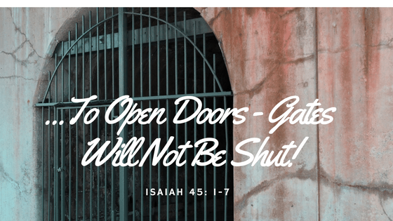 Open Doors - Gates Will Not Be Shut!