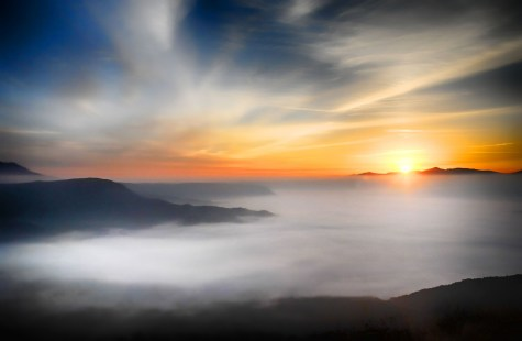 Sunrise and mist