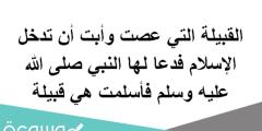 القبيلة التي عصت وأبت أن تدخل الإسلام فدعا لها النبي صلى الله عليه وسلم فأسلمت هي قبيلة