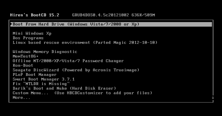 Hiren's BootCD 15.2 [Full] โหลดแผ่นบูตอเนกประสงค์ ซ่อม Windows