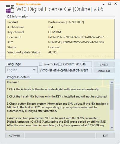W10 Digital License C#
