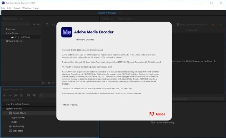 Adobe Media Encoder 2020 Screenshot