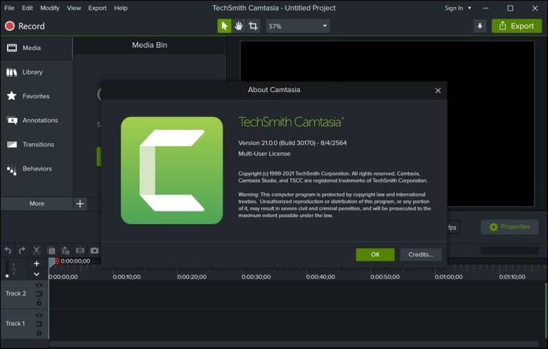 Camtasia 2021 Screenshot
