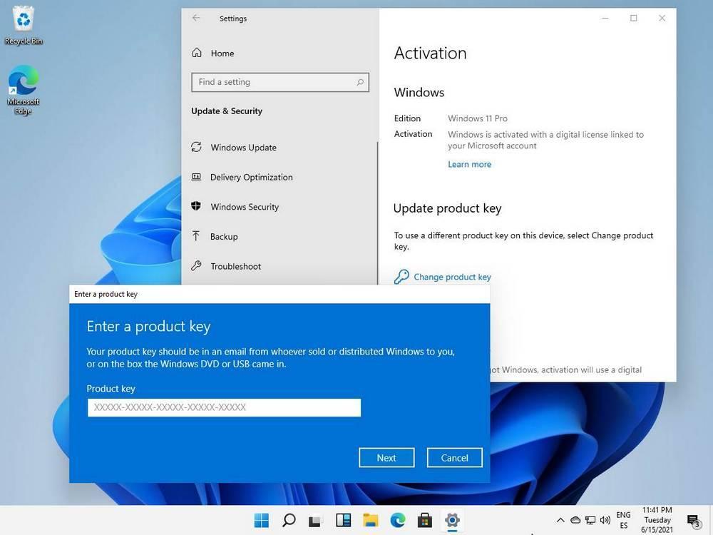 Windows 11 digital license activated screenshot