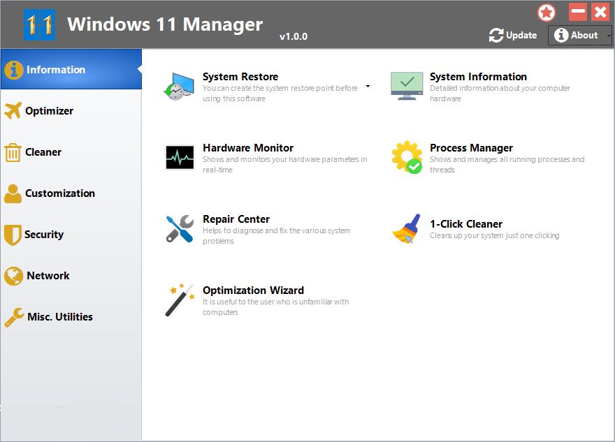 Windows 11 Manager screenshot