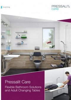 adjustable bathroom and adult changing table brochure cover