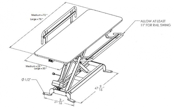 Dimensions for OmniMax Family Restroom Changing Table