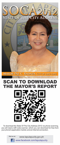 STATE OF CITY SPEECH AS EBOOK. Scan the code to download Mayor Paz Radaza's State Of The City Address. CLICK ON PHOTO TO ENLARGE.