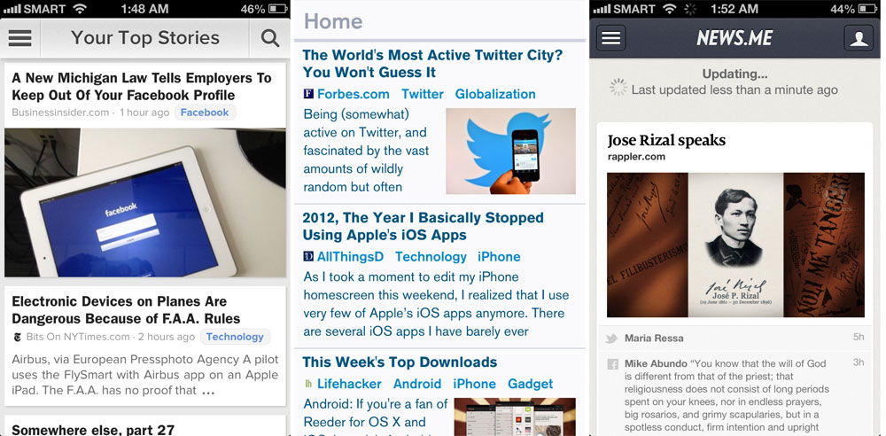 News apps Zite, Prismatic and News.me