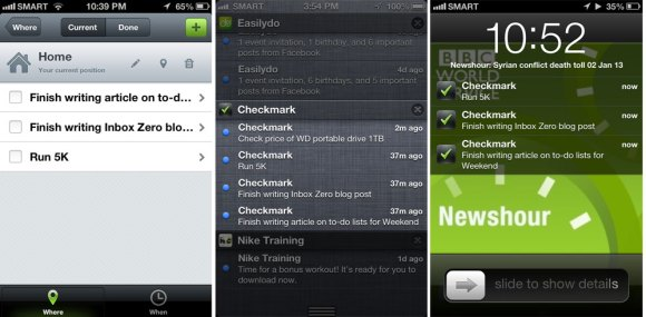 CHECKMARK. The app, which is available only on the iPhone, allows you to set location-based reminders. The images above, taken at various times, show notifications flashed by the app.