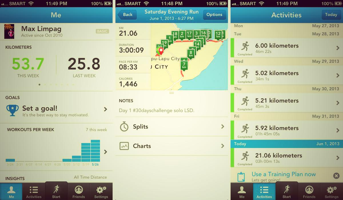 RUNKEEPER. The app for iOS and Android not only allows you to keep track of the distance of your run via GPS, it also serves as training log, resource and social network.