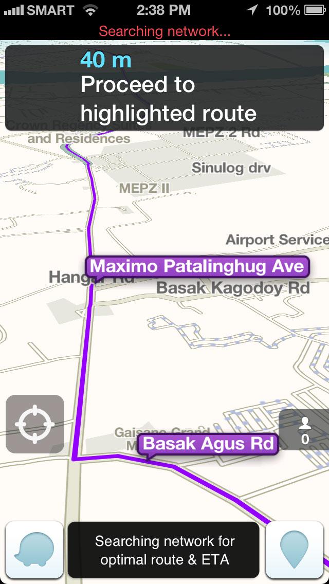 Waze app GPS route