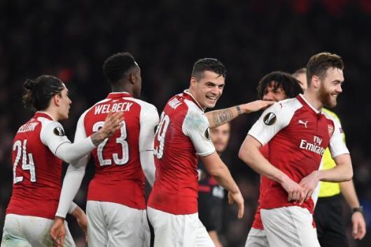Welbeck and Xhaka Fire Arsenal To Europa League Quarter-Finals