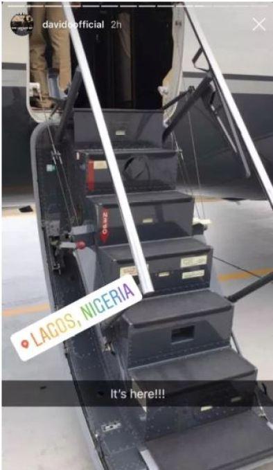 Davido's Private Jet Finally Arrives