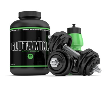 3d render of glutamine powder with bottle and dumbbells